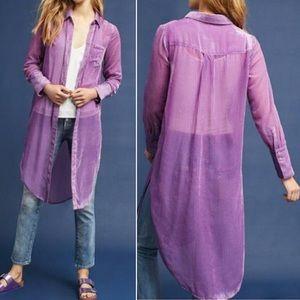 Anthro Akemi + Kin Purple Velvet Button Down Tunic